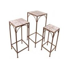 Aged Ceramic Plant Table (Set of 3)