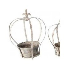 Aged Metal Crown Planter (Set of 3)