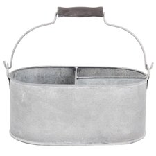 Old Zinc Oval Basket with Storage