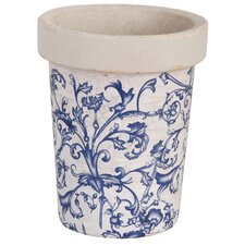 Long Tom Round Pot Planter in Blue / White