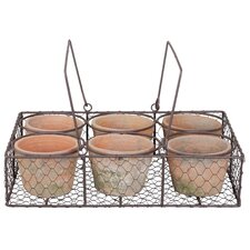 6 Piece Aged Round Pot Planter Set in Wire Basket