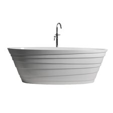 "True Solid Surface Wave 70.88"" x 33.5"" Soaking Bathtub"