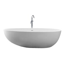 "True Solid Surface Pebble 70.88"" x 35.5"" Soaking Bathtub"
