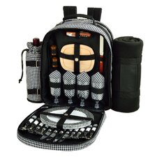 Houndstooth Picnic Backpack with Removable Blanket for Four