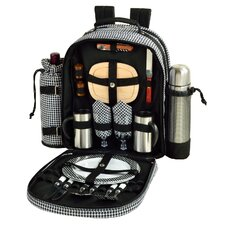 Houndstooth Coffee and Picnic Backpack for Two