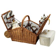 Huntsman Basket for Four with Blanket in Santa Cruz