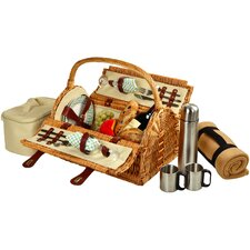 Sussex Picnic Basket with Blanket and Coffee Flask for Two