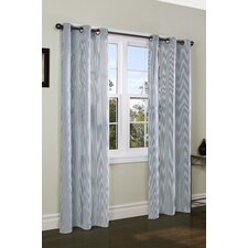 <strong>Thermalogic</strong> Laundry Stripe Insulated Cotton Grommet Curtain Panel Pair