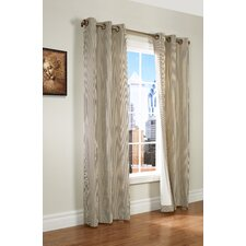 Laundry Stripe Insulated Cotton Grommet Curtain Panel Pair