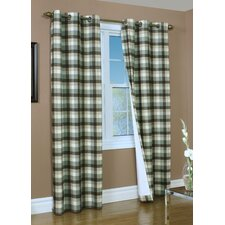 Mansfield Check Cotton Grommet Top Curtain Panel Pair