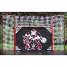 "2"" Steel Folding Hockey Goal with Backstop, Shooter Tutor & Targets"