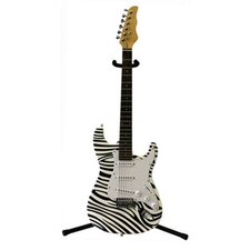 Electric Guitar with Gig Bag and Cable in Zebra