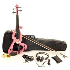 Silent Electric Violin with Bow, Headphones, Gig Bag in Pink