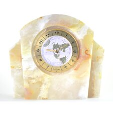 <strong>Nature Home Decor</strong> White Onyx World Clock