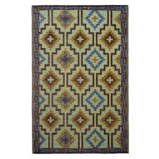 World Lhasa Royal Blue/Chocolate Brown Indoor/Outdoor Rug
