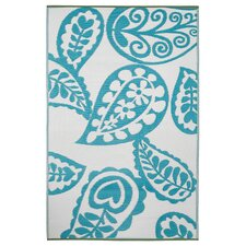 <strong>Fab Rugs</strong> Paisley River Blue/White World Rug