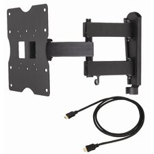 "Articulating LCD Wall Mount for 18"" to 40"" Screens in Hi-Gloss Black"