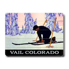 Vail Colorado Skier Vintage Advertisement Plaque