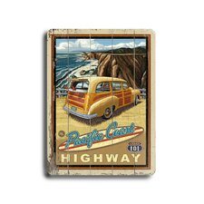 Woody at the Beach Vintage Advertisement Plaque