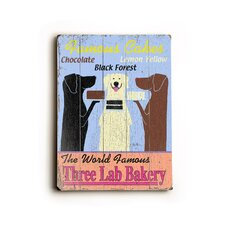 "Three Lab Bakery Planked Wood Sign - 20"" x 14"""
