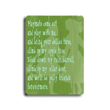 Playmate Textual Art Plaque