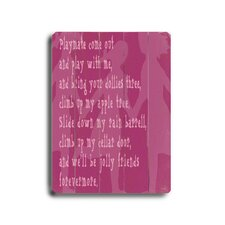 Playmate 2 Planked Textual Art Plaque