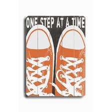 One Step at a Time Planked Sign Graphic Art Plaque