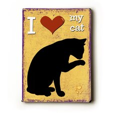 I Heart My Cat Wood Sign
