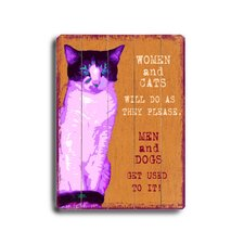 Women and Cats Planked Textual Art Plaque