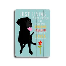 Just Living Planked Textual Art Plaque