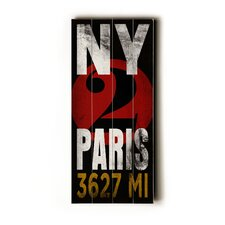NY 2 Paris Transit Wood Sign