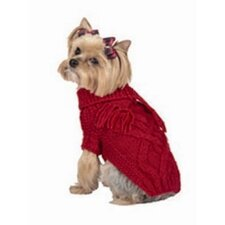 Fancy Cable Dog Sweater with Scarf