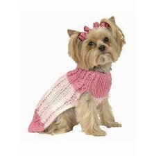 Tri Color Stripe Dog Sweater with Hat in Pink