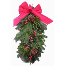 "Fresh Fraser Fir ""Holly Berry"" Door Swag - 20"" H x 7"" W"
