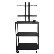 "27 - 42"" Flat Panel Cart, Adjustable 34 - 54"" with 4 Outlets"