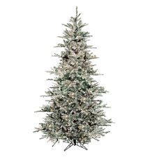 Flocked Vail 7.5' Green Artificial Christmas Tree with 750 Prestrung Clear Lights