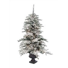 Potted Prelit Flocked Vail Artificial Tree Christmas Decoration