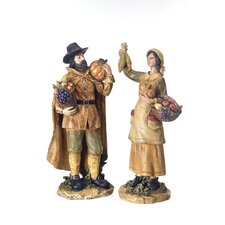 2 Piece Harvest Pilgrims Figurine Set
