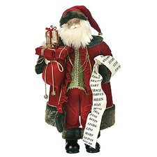 Standing Santa with List Figurine