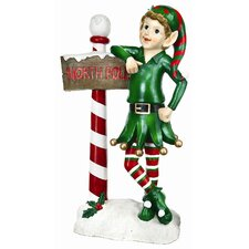 Elf with Sign Statue Christmas Decoration