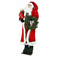 Velvet Plaid Santa Figurine