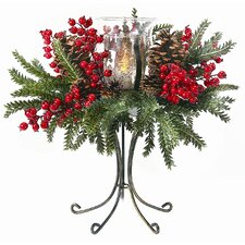 Holly and Pinecone Candle Holder on Pedestal