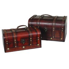 Decorative Wood Treasure Box (2 Piece Set)