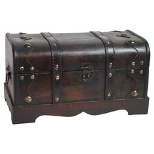 Small Pirate Style Wooden Treasure Chest in Antique Cherry