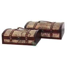 Old World Map Treasure Chests (Set of 2)