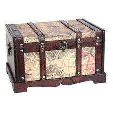 Old World Map Wooden Trunk (2 Piece Set)
