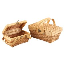 2 Piece Woodchip Picnic Basket Set with Folding Handles
