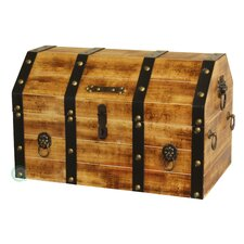 Large Wooden Pirate Trunk with Lion Rings