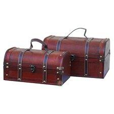 Decorative 2 Piece Wood Treasure Box Set