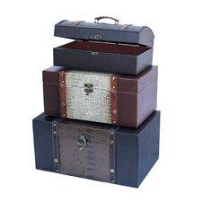 3 Piece Decorative Storage Crocodile Leather Trunk Set